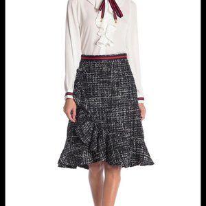 Gracia Tweed Ruffle Skirt Black Large